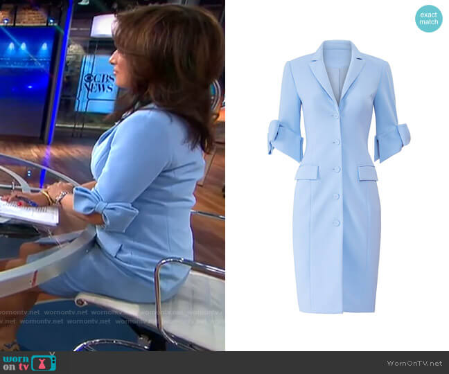 Badgley Mischka Sky Blue Suit Dress worn by Michelle Miller  on CBS This Morning