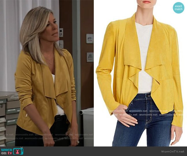 Suede Drape Front Jacket by Bagatelle worn by Carly Corinthos (Laura Wright) on General Hospital