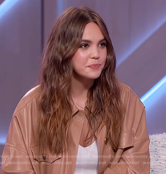 Bailee Madison's leather jacket and pants on The Kelly Clarkson Show