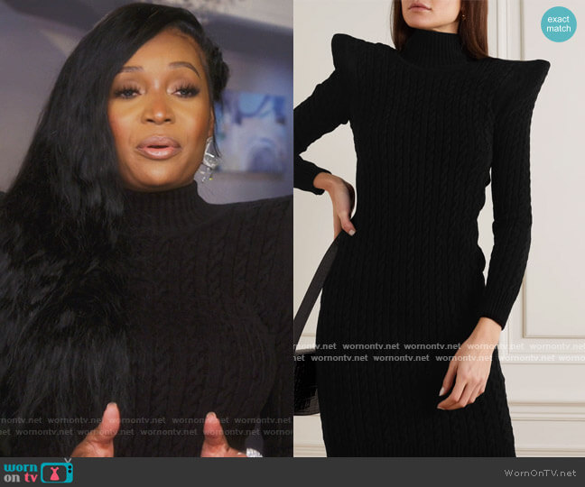 Pagoda cable knit-effect velvet turtleneck midi dress by Balenciaga worn by Marlo Hampton on The Real Housewives of Atlanta