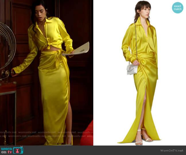 Balenciaga Satin Blouse and Wrap Maxi Skirt worn by Zoe (Kiara Barnes) on The Bold & the Beautiful