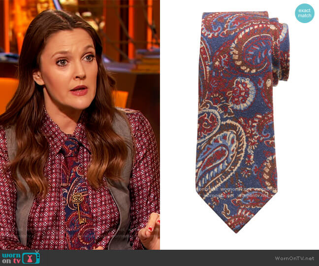 Dre Paisley Wool Tie by Banana Republic worn by Drew Barrymore  on The Drew Barrymore Show