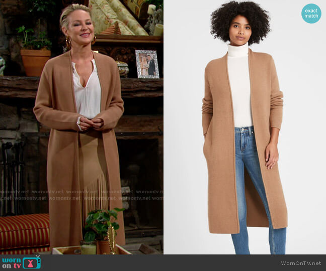 Banana Republic Birdseye Duster Coatigan worn by Sharon Collins (Sharon Case) on The Young & the Restless