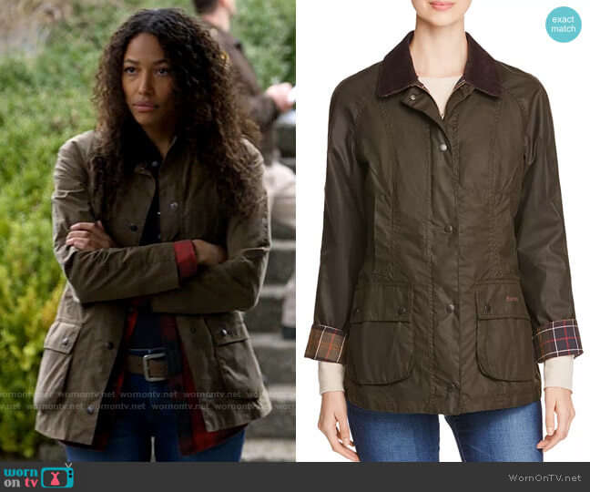 Barbour Classic Beadnell Waxed Cotton Jacket worn by Cassie Dewell (Kylie Bunbury) on Big Sky