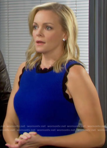 Belle's blue and black scalloped trim dress on Days of our Lives