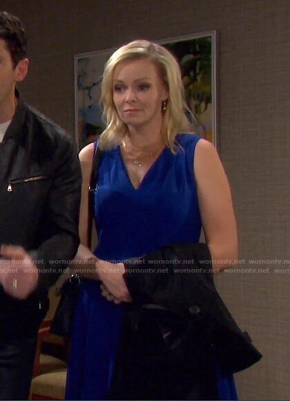 Belle's blue v-neck sleeveless dress on Days of our Lives