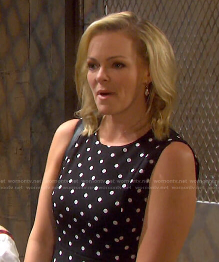Belle's black polka dot dress on Days of our Lives