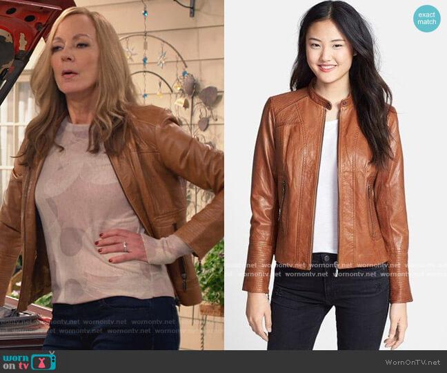 Leather Scuba Jacket by Bernardo worn by Bonnie Plunkett (Allison Janney) on Mom