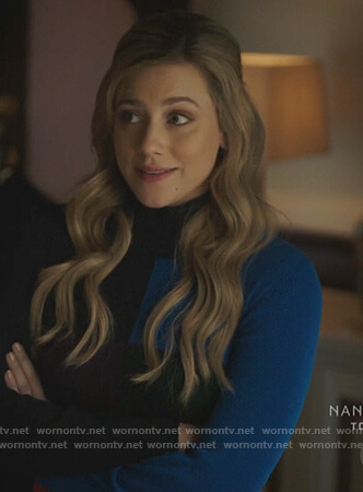 Betty's blue colorblock sweater on Riverdale