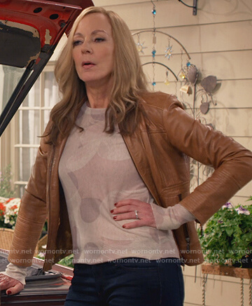 Bonnie's brown leather jacket on Mom
