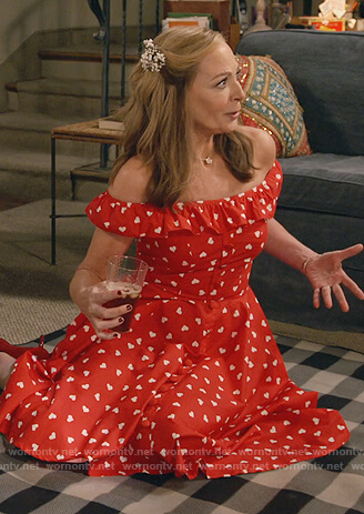 Bonnie's red heart print off shoulder dress on Mom
