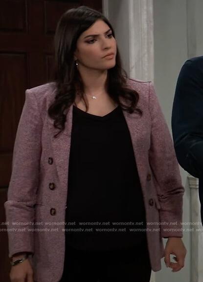 Brook Lynn's purple tweed blazer on General Hospital