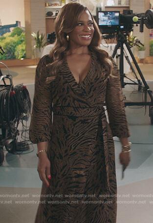 Mika's brown tiger stripe wrap dress on Kenan