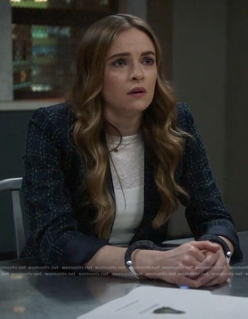 Caitlin's navy checked blazer on The Flash