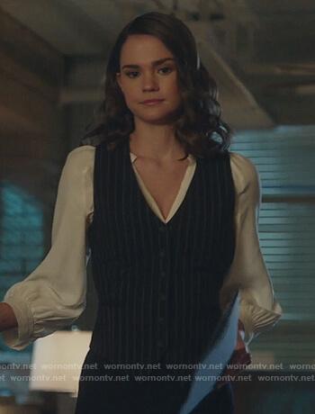 Callie's pinkstripe vest on Good Trouble