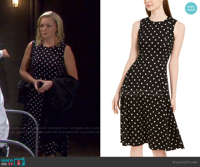 Polka-Dot Fit & Flare Dress by Calvin Klein worn by Belle Brady (Martha Madison) on Days of our Lives