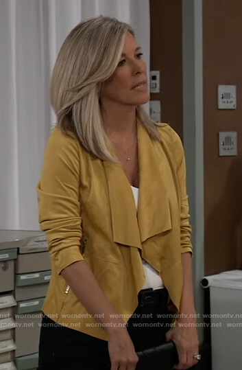 Carly's yellow suede jacket on General Hospital