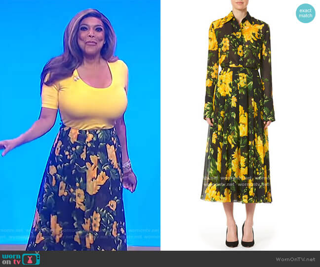 Floral Pleated Midi Skirt by Carolina Herrera worn by Wendy Williams  on The Wendy Williams Show
