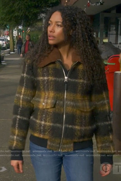 Cassie's plaid jacket with sherpa collar on Big Sky