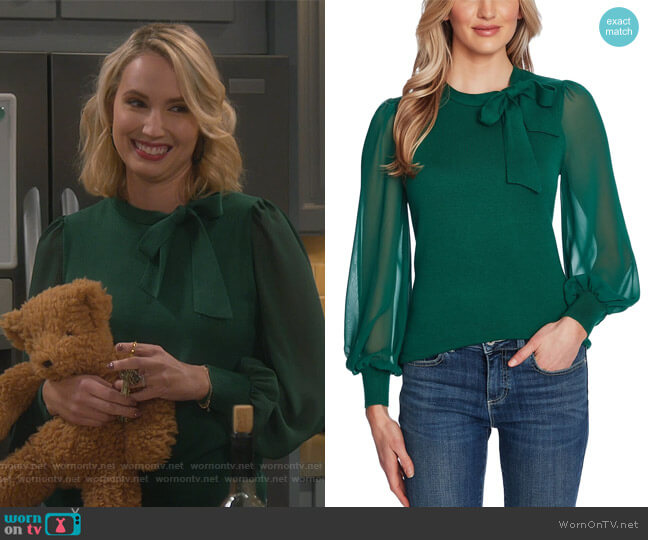 Mixed-Media Bow Sweater by CeCe worn by Mandy Baxter (Molly McCook) on Last Man Standing