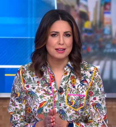 Cecilia's floral and bird print shirt on Good Morning America