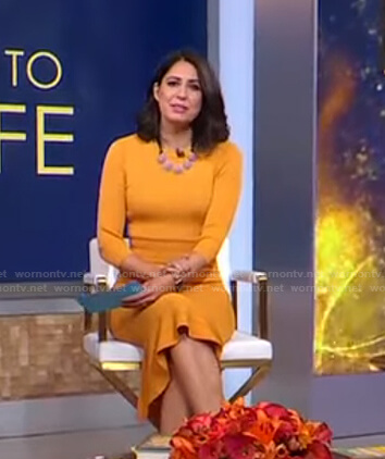 Cecilia's yellow ribbed knit dress on Good Morning America