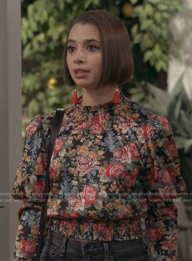 Celia's floral smocked waist top on Call Your Mother
