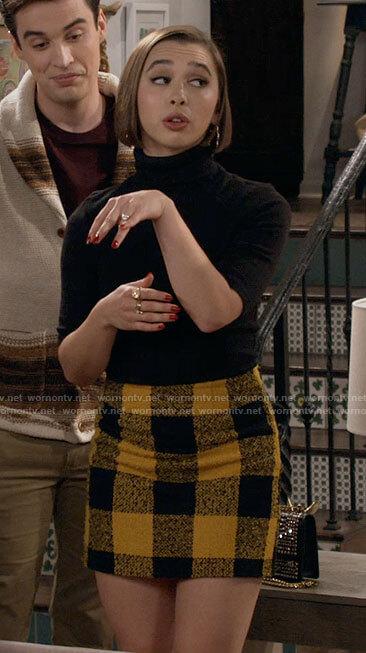 Celia's yellow checked skirt on Call Your Mother