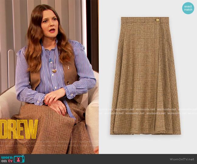 70's Midi Skirt by Celine worn by Drew Barrymore  on The Drew Barrymore Show