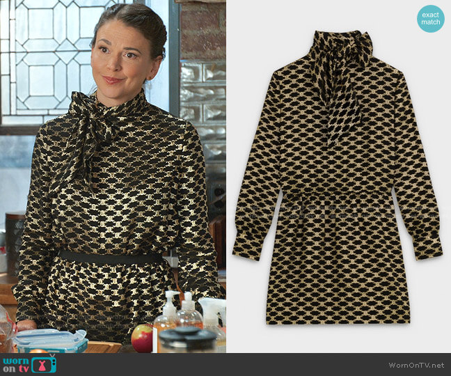 Short Dress with Lavalliere Tie Bow Collar by Celine worn by Liza Miller (Sutton Foster) on Younger