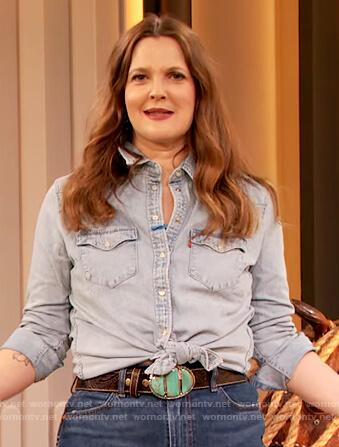 Drew's denim western shirt on The Drew Barrymore Show