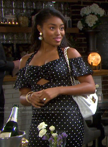 Chanel's black polka dot cutout dress on Days of our Lives