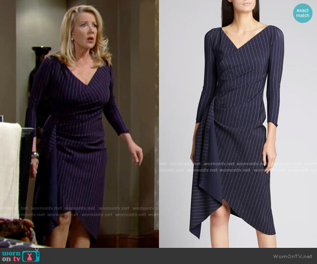 Chiara Boni La Petite Robe Pinstriped V-Neck Ruched Dress with Sash worn by Nikki Reed Newman (Melody Thomas-Scott) on The Young & the Restless