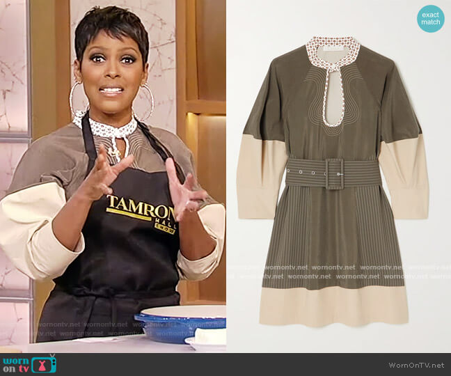 Belted two-tone silk-blend and cotton-poplin mini dress by Chloe worn by Tamron Hall  on Tamron Hall Show
