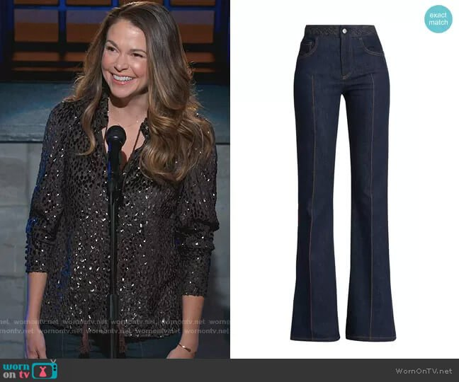 Braided Waist Flare Jeans by Chloe worn by Liza Miller (Sutton Foster) on Younger