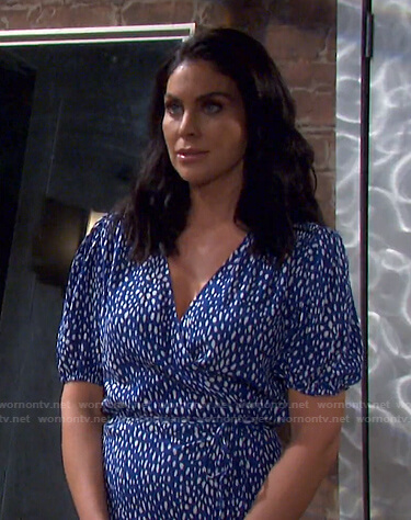Chloe's blue dotted wrap dress on Days of our Lives