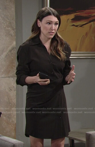 Chloe's brown draped shirtdress on The Young and the Restless