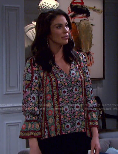 Chloe's floral tie neck blouse on Days of our Lives