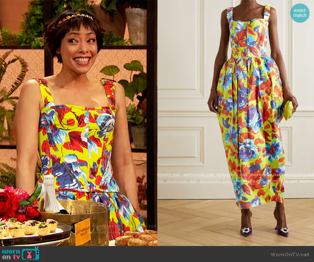 Topstitched floral-print cotton-twill bustier top and skirt by Christopher John Rogers worn by Pilar Valdes on The Drew Barrymore Show