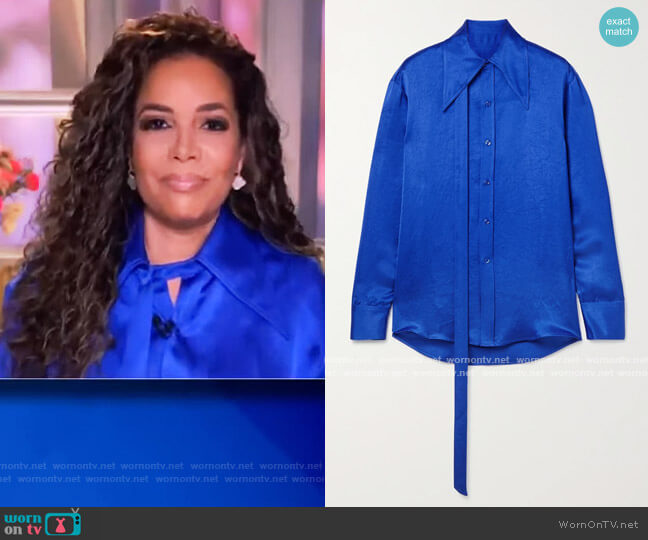 Satin Shirt by Chistopher John Rogers worn by Sunny Hostin  on The View
