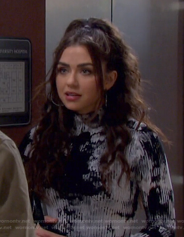 Ciara's tie dye ribbed mini dress on Days of our Lives