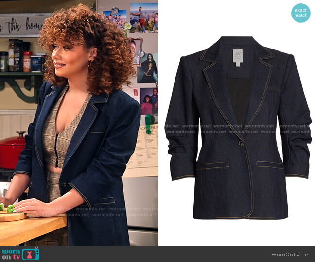 Khloe Ruched Sleeve Denim Blazer by Cinq a Sept worn by Jade (Talia Jackson) on Family Reunion