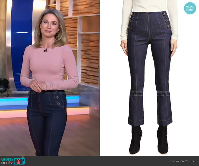 Tous Les Jours Chantal Pants by Cinq a Sept worn by Amy Robach  on Good Morning America
