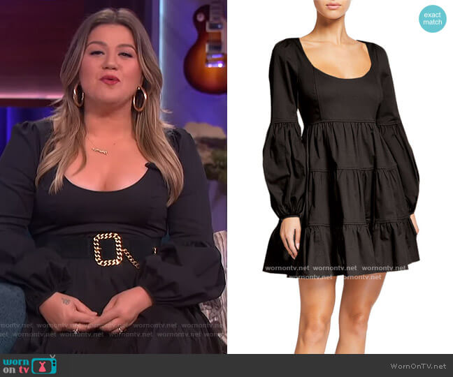 Rose Square-Neck Mini Dress by Cinq a Sept worn by Kelly Clarkson  on The Kelly Clarkson Show