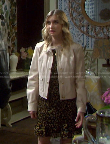 Claire's black and yellow leopard print dress on Days of our Lives
