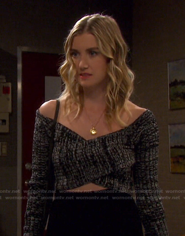 Claire's marled crisscross cropped sweater on Days of our Lives