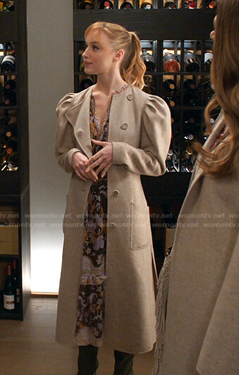 Clare's floral dress and puff sleeve coat on Younger