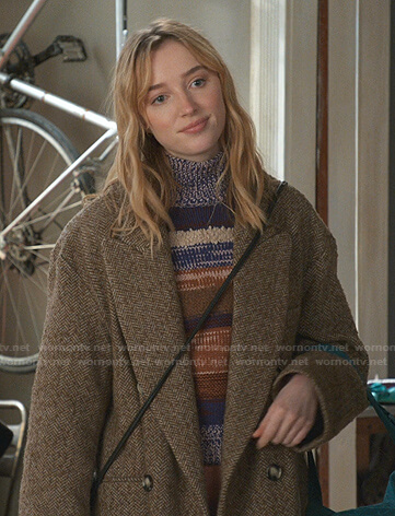 Clare's striped turtleneck sweater and brown herringbone coat on Younger