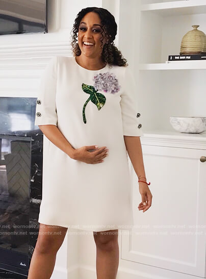 Cocoa's white floral embroidered dress  on Family Reunion
