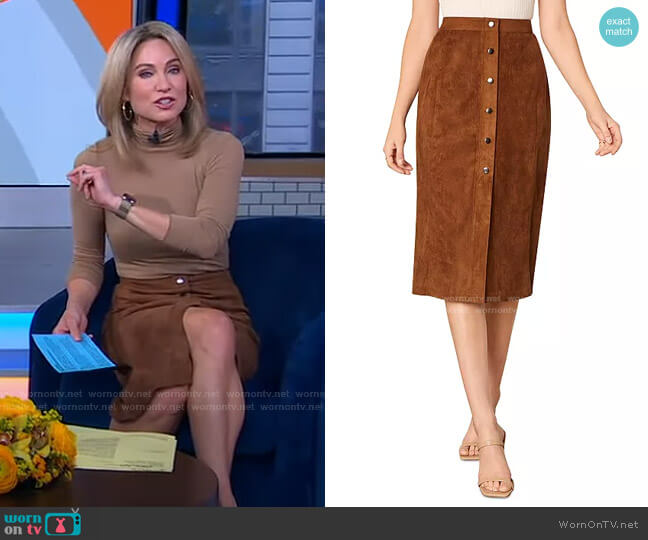 Janis Faux Suede Skirt by Cupcakes and Cashmere worn by Amy Robach  on Good Morning America